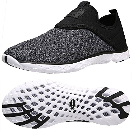 - ALEADER Men's Slip-on Athletic Water Shoes Black/Gray 11.5 D(M) US