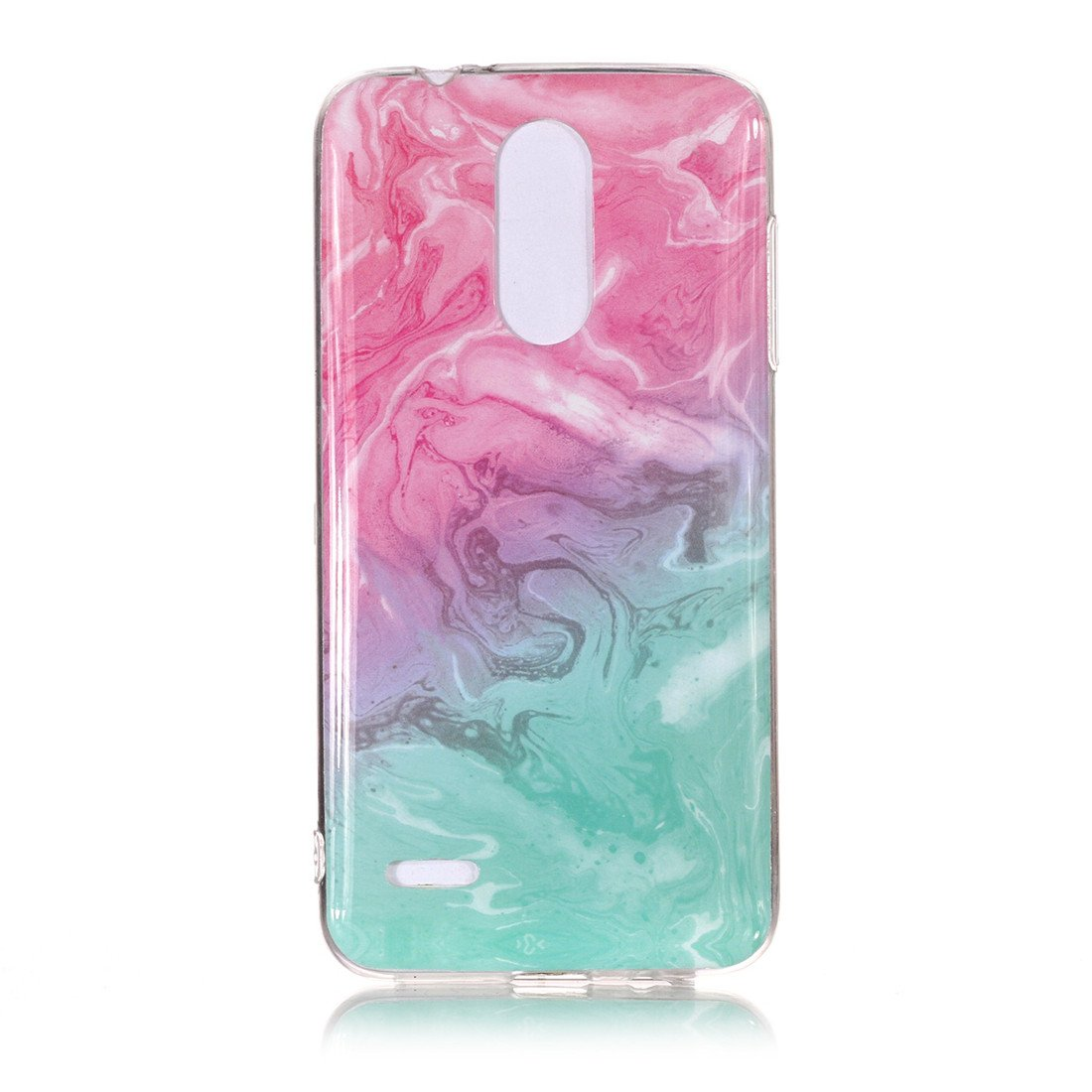 LG K8 2018 Case, LG Tribute Dynasty/Zone 4/Fortune 2/Aristo 2 Case, Lwaisy Slim Fit Shockproof Anti-Scratch Anti-Finger Flexible Soft TPU Rubber Protective Case Cover - Pink/Green Marble