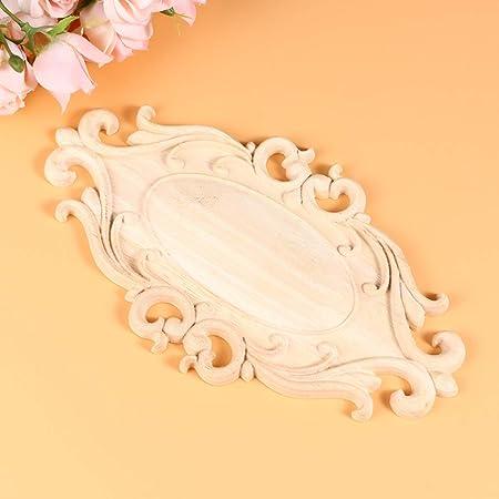 Belle Fleur Motif Cadre Non Peint Bois Sculpt/é Applique Meubles D/écoration Jardin Porte Accessoires 4 Pcs Bois Applique
