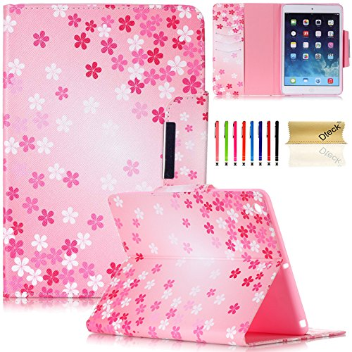 iPad Air Case, iPad Air Case 1st Generation, Dteck(TM) Slim Fit Smart Leather Case [Illustration Painting Design] Flip Stand Case Cover for iPad Air with Auto Sleep/Wake Function-Pink Flower by Dteck
