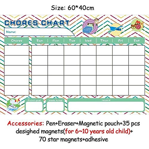 HITSAN magnetic chores chart dry erase board wall sticker kids weekly planner to do list reward chart 60 40 cm 6040ZLB05-2