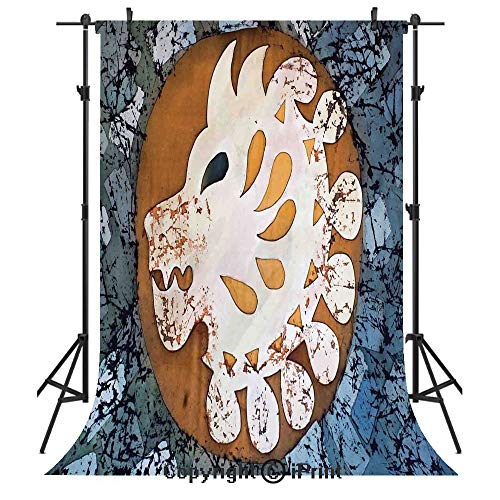 Batik Decor Photography Backdrops,Grungy Wolf Visage Head in a Rounded Full Moon Form Night Knight Esoteric Image,Birthday Party Seamless Photo Studio Booth Background Banner 6x9ft,Multi (Visage Labs)