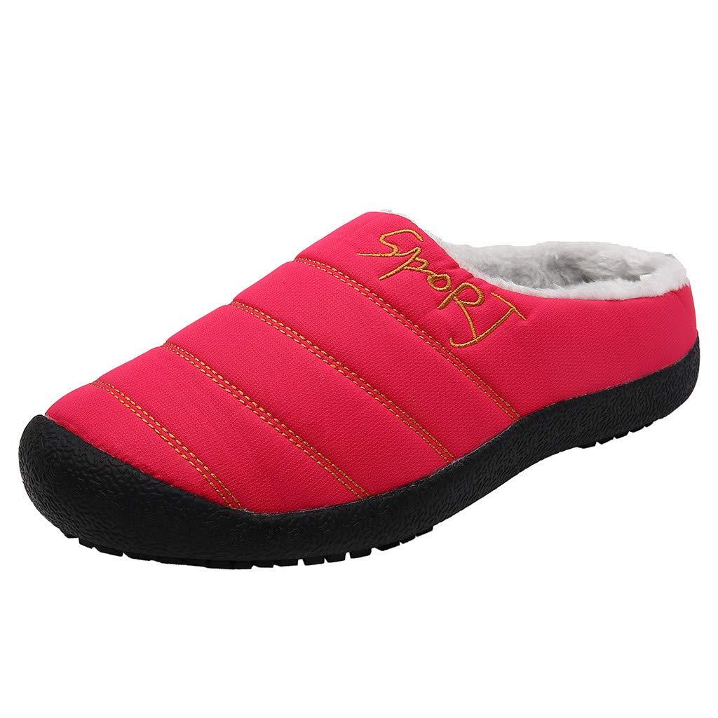 Shusuen Women's House Slippers Comfort Fuzzy Winter Home Shoes Slip On Indoor Outdoor Anti Slip Slippers Hot Pink by Shusuen