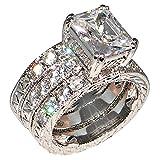Regal 3.9 Ct Emerald-shape Milgrain Cubic Zirconia Cz Bridal Engagement Wedding Ring Set (Center Stone Is 3 Cts)