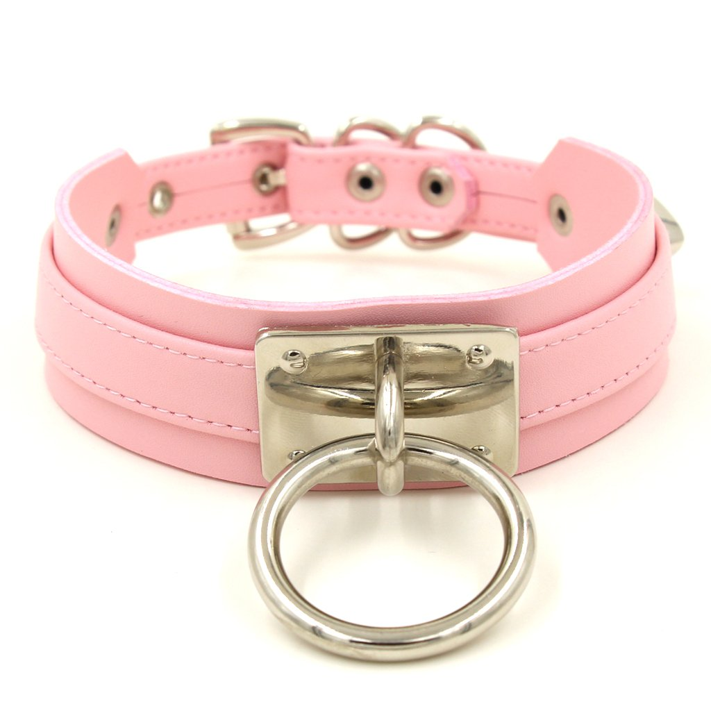 Handmade O Ring Faux Leather Choker Collar (Pink with silver alloy)