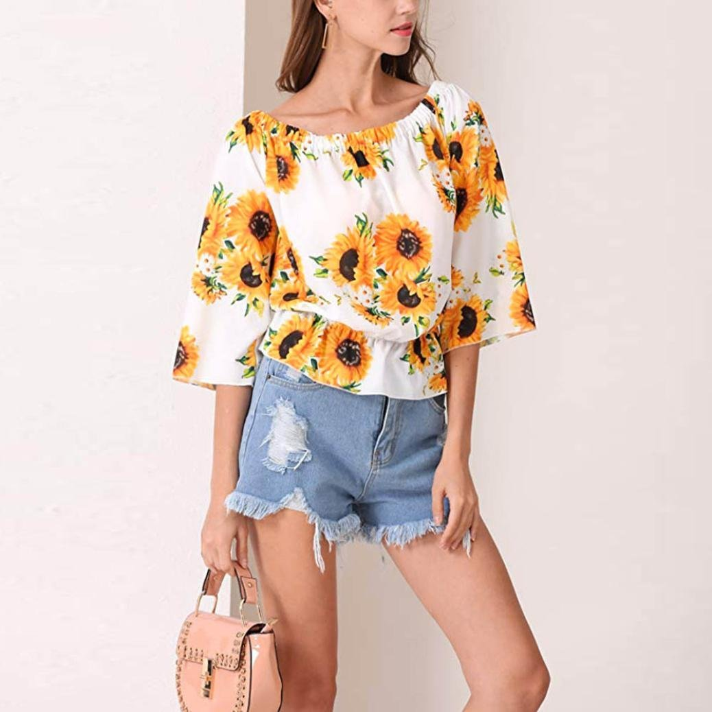 fbd4d14184b Amazon.com  Fashion Womens Blouse-Han Shi Off Shoulder 3 4 Sleeve Floral  Print Tops Tee Shirts  Clothing