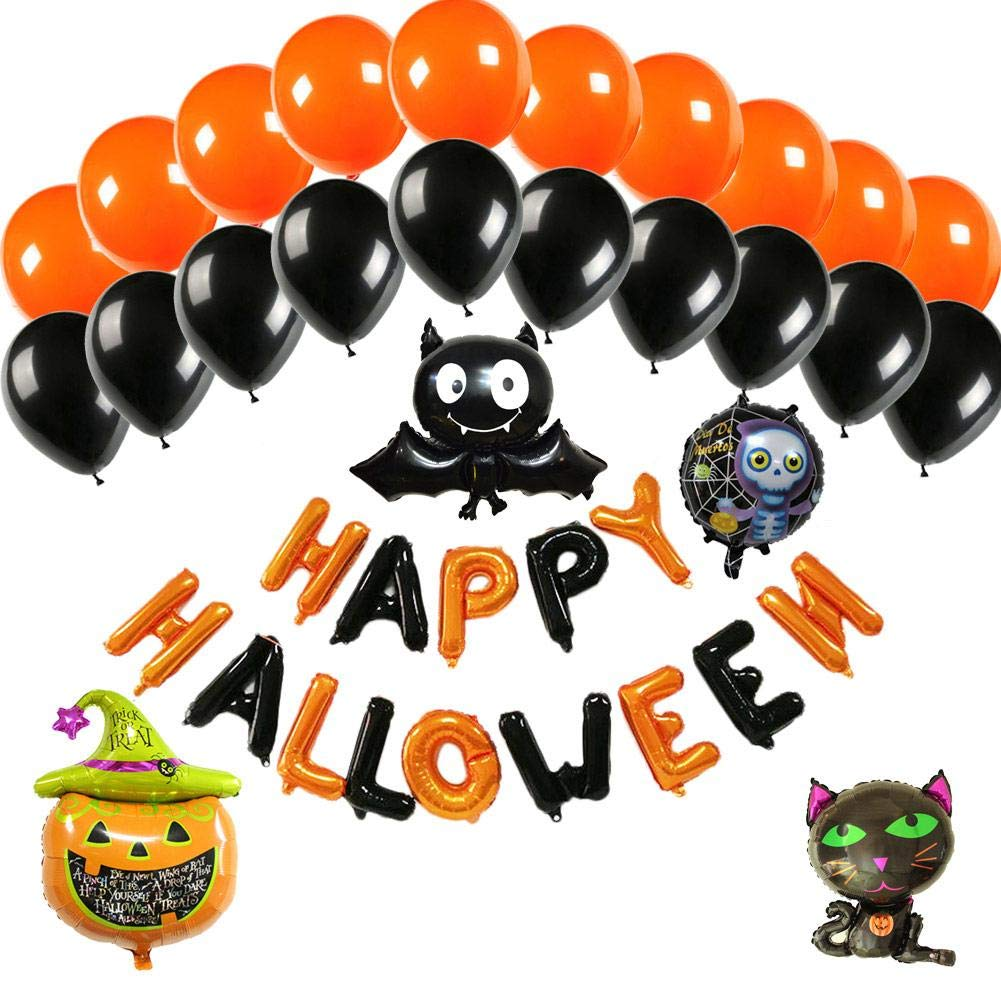 Blueyouth Halloween Aluminum Film Balloon Set - Decoration Balloon Set, 28psc, with Pump, for Mall Hotel KTV Party,Evening Party Decoration