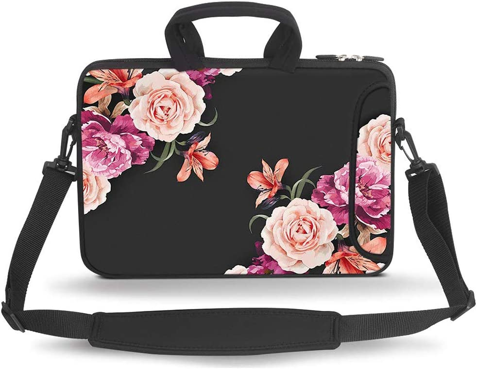 HAOCOO 17 17.3 inch Laptop Shoulder Bag Water-Resistant Neoprene Computer Case Sleeve with Handle Adjustable Shoulder Strap, Big Peony
