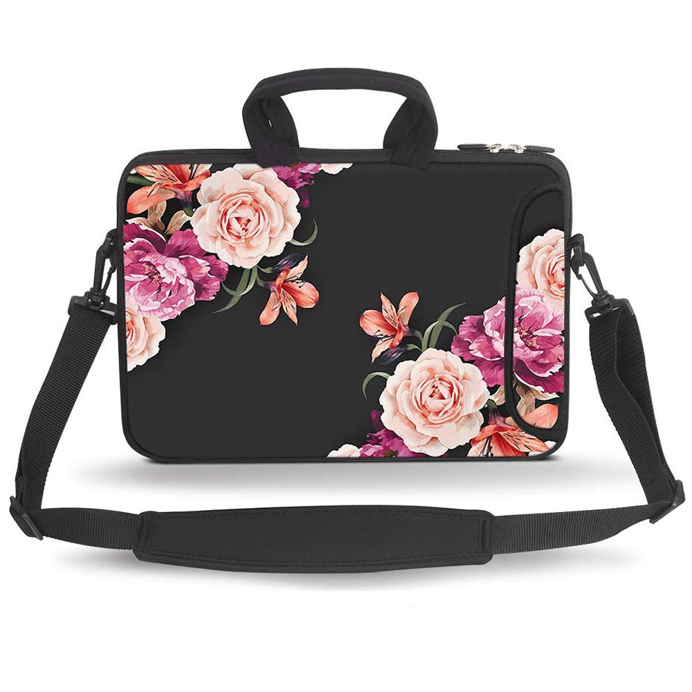 HAOCOO 17 17.3 inch Laptop Shoulder Bag Water-Resistant Neoprene Computer Case Sleeve with Handle Adjustable Shoulder Strap and External Side Pocket, Big Peony