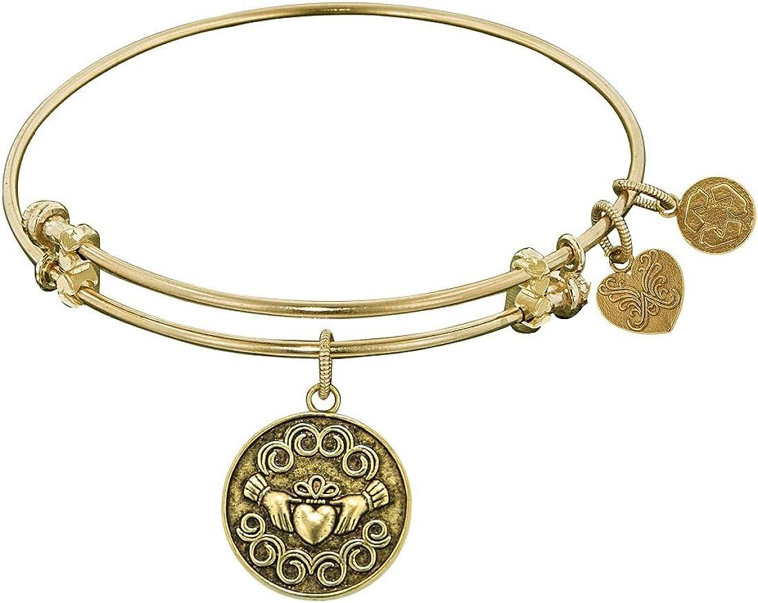 Angelica Collection Antique Yellow Brass Claddagh Claudagh Irish Bangle Bracelet