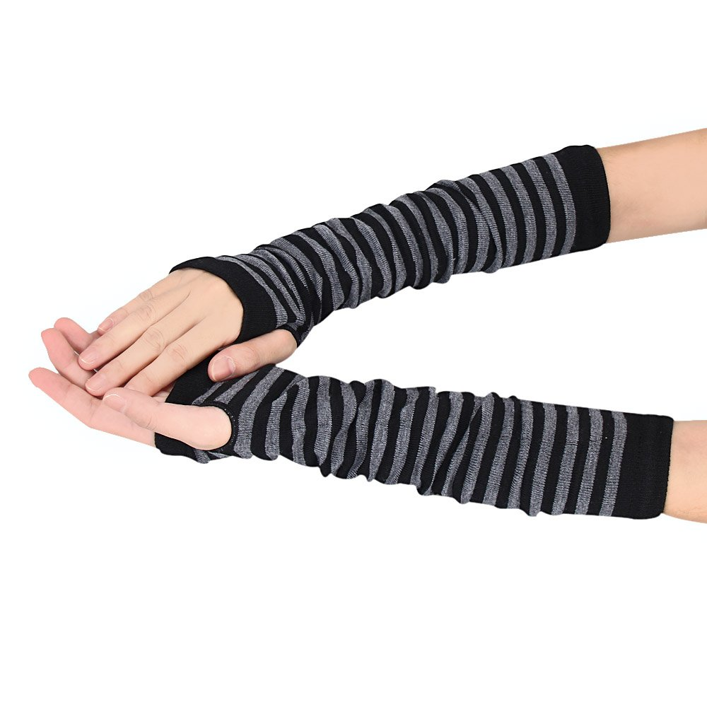 Doinshop Cool Winter Wrist Arm Hand Warmer Knitted Long Fingerless Gloves Mitten (Black)