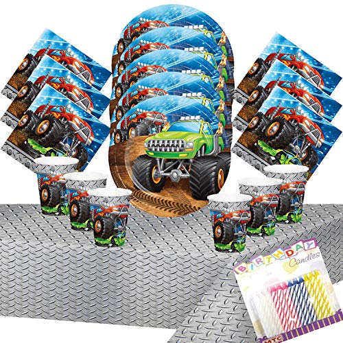 Monster Truck Rally Party Supplies Pack Serves 16:Dessert Plates Beverage Napkins Cups and Table Cover with Birthday Candles - Monster Truck Birthday Supplies Deluxe (Bundle for 16) -