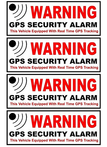 4-Pc Perfectly Fashionable Outside Adhesive Warning GPS Security Alarm Stickers Signs 24Hr Protected Auto RV Home Size 4.5