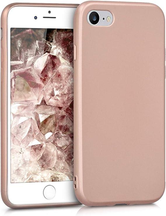 Image ofkwmobile Funda Compatible con Apple iPhone 7/8 / SE (2020) - Carcasa móvil de Silicona - Protector Trasero en Oro Metalizado