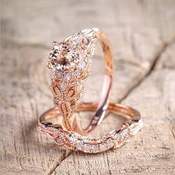 Finemall Fashion Elegant Women 18K Rose Gold Filled Morganite AAA Zircon Pink Gemstone Wedding Bridal Ring Set(Size 6-10)