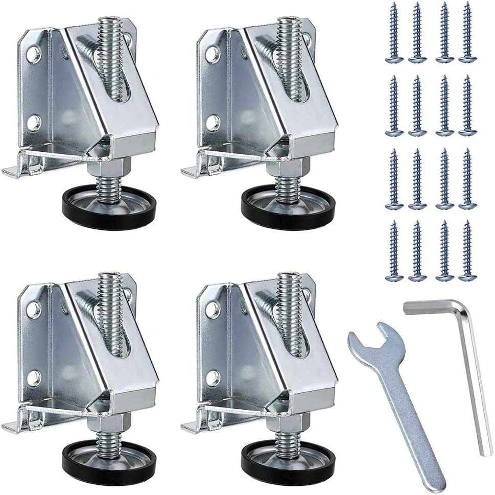 OwnMy Heavy Duty Adjustable Leveling Feet Hexagon Nuts Lock Furniture Legs Levelers for Furniture, Table, Cabinets, Workbench, Shelving Units and More