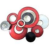Nouveau - Métal art de mur Décor de Sculpture - Rouge Gris Lié Cercle de disque Résumé