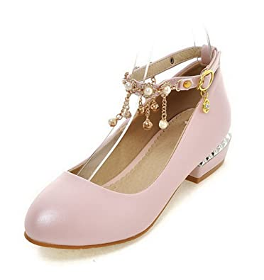 Damen Niedriger Absatz PU Rein Schnalle Spitz Zehe Pumps Schuhe, Pink, 40 VogueZone009