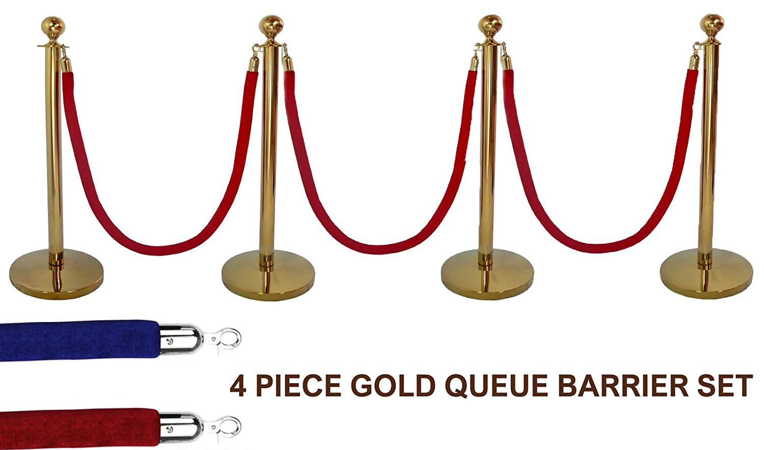 4 X BRASS QUEUE BARRIER POSTS SECURITY STANCHION ROPE DIVIDER STEEL SET GOLD BWUK
