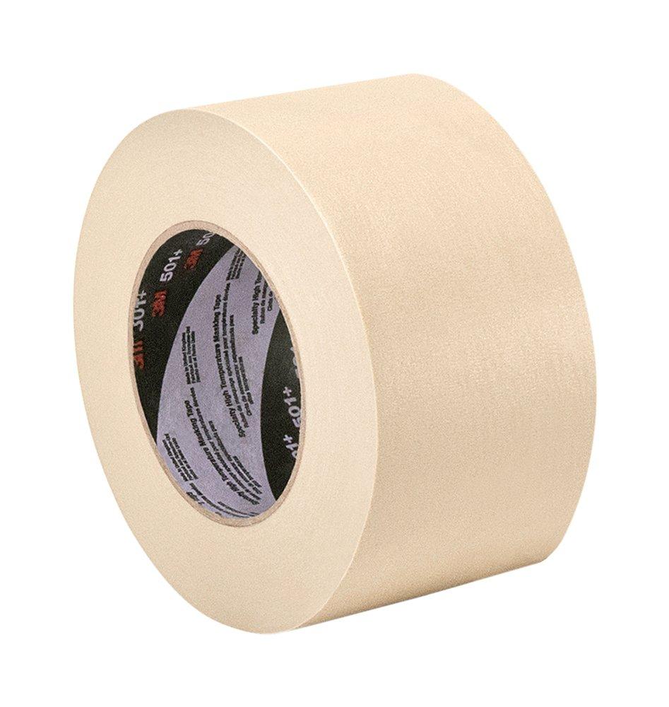 3M 501+ 4.72'' x 60 Yard High Temperature Masking Tape 4.72'' x 60 Yard Roll, Crepe Paper, Tan by 3M
