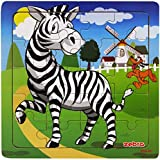 Layhome Puzzle 20 Pieces Wooden Puzzles Baby Kids Learning Jigsaw Puzzles Forest Animal (zebra)