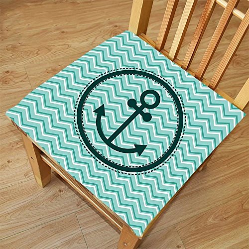 Nalahome Set of 2 Waterproof Cozy Seat Protector Cushion Anchor Decor Horizontal Zig Zag Pattern Background Anchor Image In Circle Shape Medallion Printing Size ()