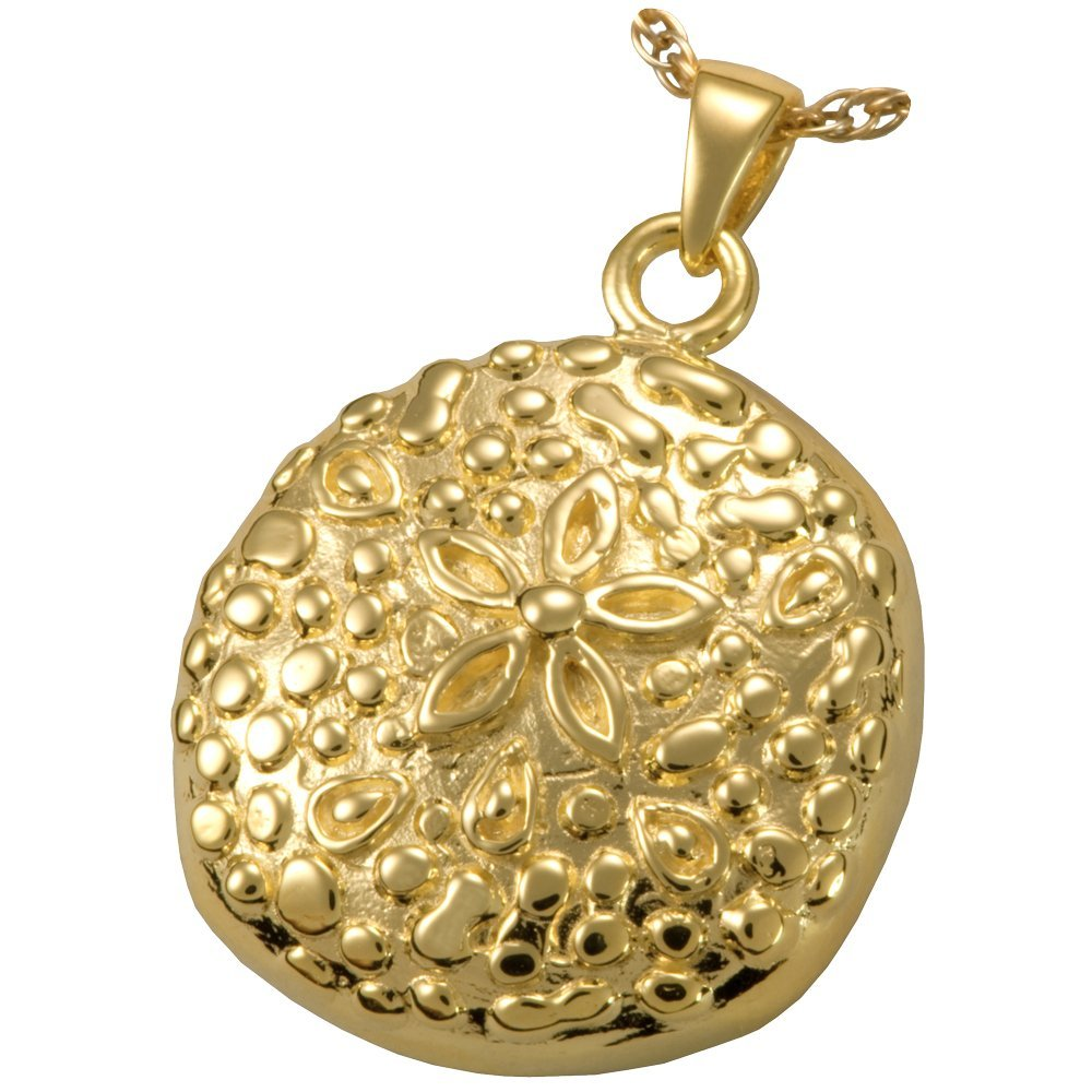 Memorial Gallery MG-3151gp Sand Dollar 14K Gold/Sterling Silver Plating Cremation Pet Jewelry by Memorial Gallery