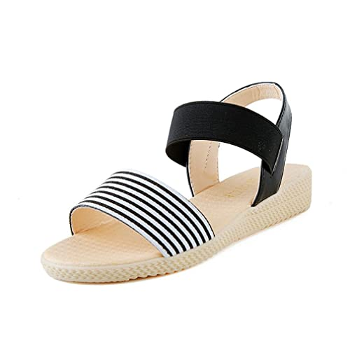 Sandalen Damen Streifen-Flache Ferse Anti Skidding Beach Shoes Sandalen Slipper Schwarz Beige