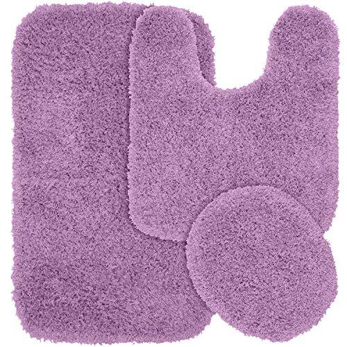 Garland Rug 3-Piece Jazz Shaggy Washable Nylon Bathroom Rug Set, Purple