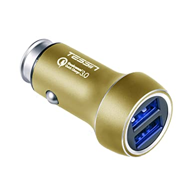 Tessin Dual USB Puertos Qualcomm carga rápida 3.0 Cargador de coche para teléfono móvil Tablet y más