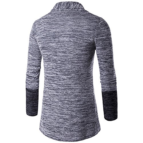 Slim Gray Cardigan Jumpers Sleeve Long Mens Knitwear Cardigan Open Knitted HARRYSTORE Long Knitted Front Outwear Coat Shirt Fit Trench UqApPB0