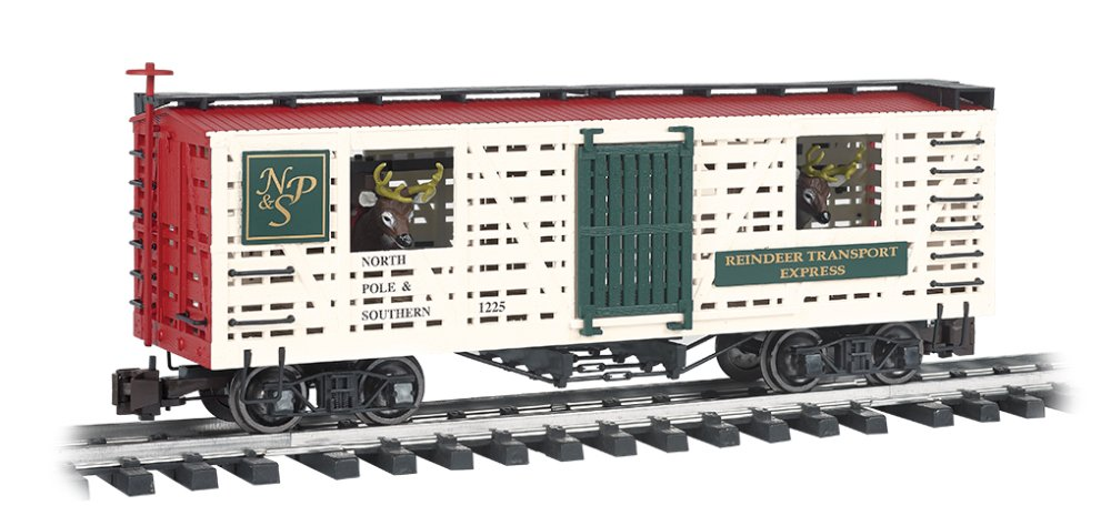 Train Rolling Stock Animated Stock Car Np & S With Reindeer (Christmas) Large Scale