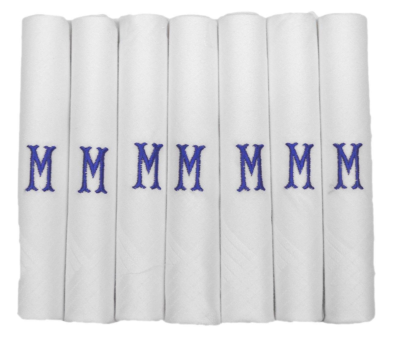 7 Packung Mens/Gentlemens weiß en Satin umrahmten Taschentü chern mit & blau bestickt Initialen, M