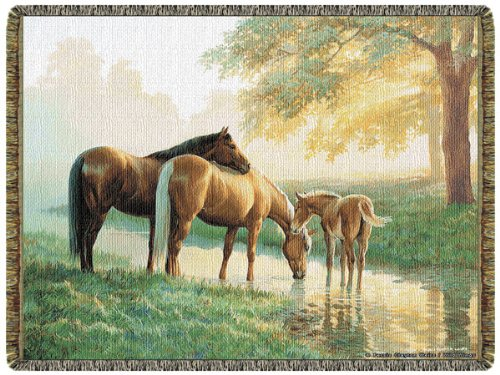 Spring Morning Horses Tapestry Cotton Throw(  Made in USA)