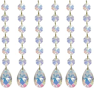Poproo Teardrop Pendants Octagon Crystal Glass Beads Pendant for Chandelier Lamp Curtain Decor, 6-Pack (AB)