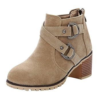 Amazon.com: Botas de tobillo para mujer con tacón apilado ...