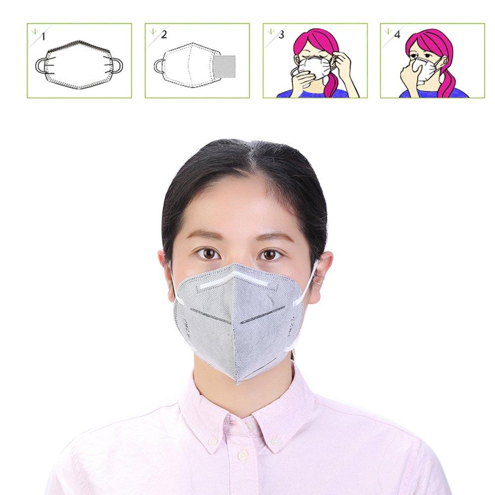 Máscara de respiración con ventilador Pack de 5 media cara boca ...