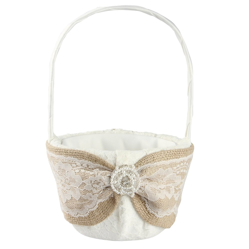 Ivy Lane Design Selina Collection Flower Girl Basket, 9.5-Inch by 6-Inch, Ivory