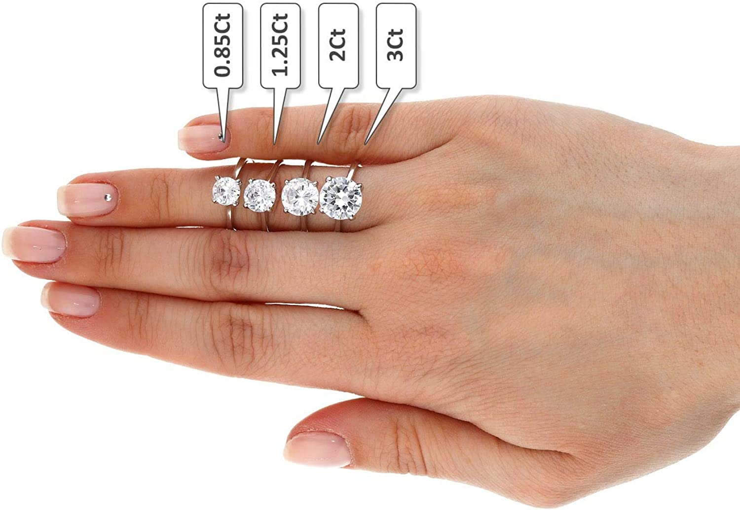 Platinum over Sterling Silver Cubic Zirconia Brilliant Solitaire Engagement Ring