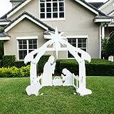 Teak Isle Christmas Outdoor Nativity Set, Yard Scene, Large