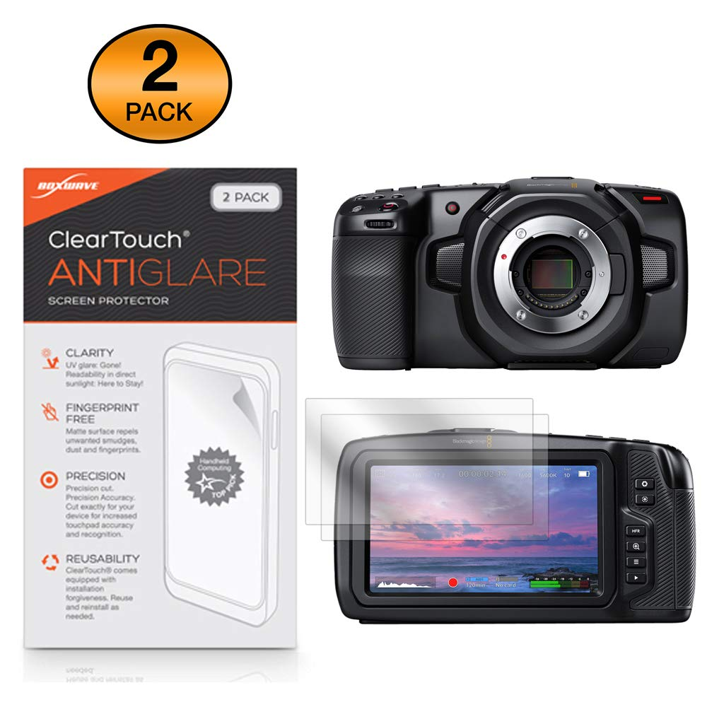 Blackmagic Pocket Cinema Camera 4K Screen Protector, BoxWave [ClearTouch Anti-Glare (2-Pack)] Anti-Fingerprint Matte Film Skin for Blackmagic Pocket Cinema Camera 4K by BoxWave