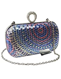 Missy K Rhinestone Ring Hard Case Sequin Evening Party Clutch Purse + Money Clip