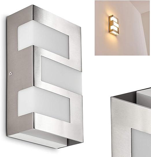 Aplique de pared de metal para exterior LED cromado Lannion ...