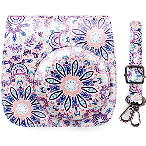 Elvam Classic Printed PU Leather Compact Case with Strap Compatible w Fugi Film Instax Mini 9/8/8+ Instant Film Camera - Pink Purple Floral Moroccan Style