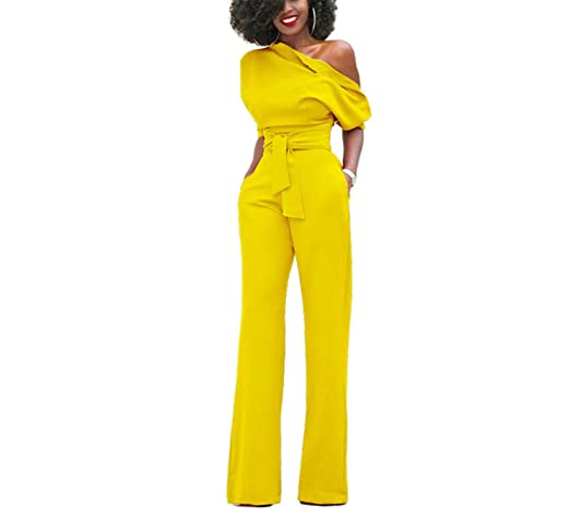 Amazon.com: DUJUANNIAO Women Off Shoulder Elegant Jumpsuits Plus Size Rompers Jumpsuits Short Sleeve Overalls: Clothing