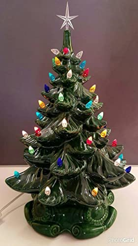 vintage style ceramic christmas tree large ceramic christmas tree 16 tall with lights and
