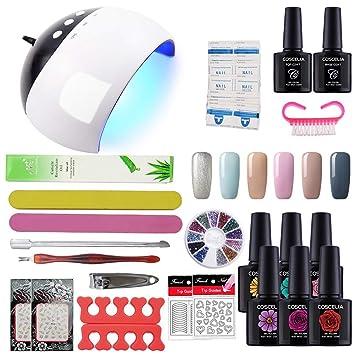 Coscelia - Kit de Nail Art, esmaltes semipermanentes, gel de uñas, esmaltes de acabado y lámpara secadora LED UV de 24 W: Amazon.es: Belleza