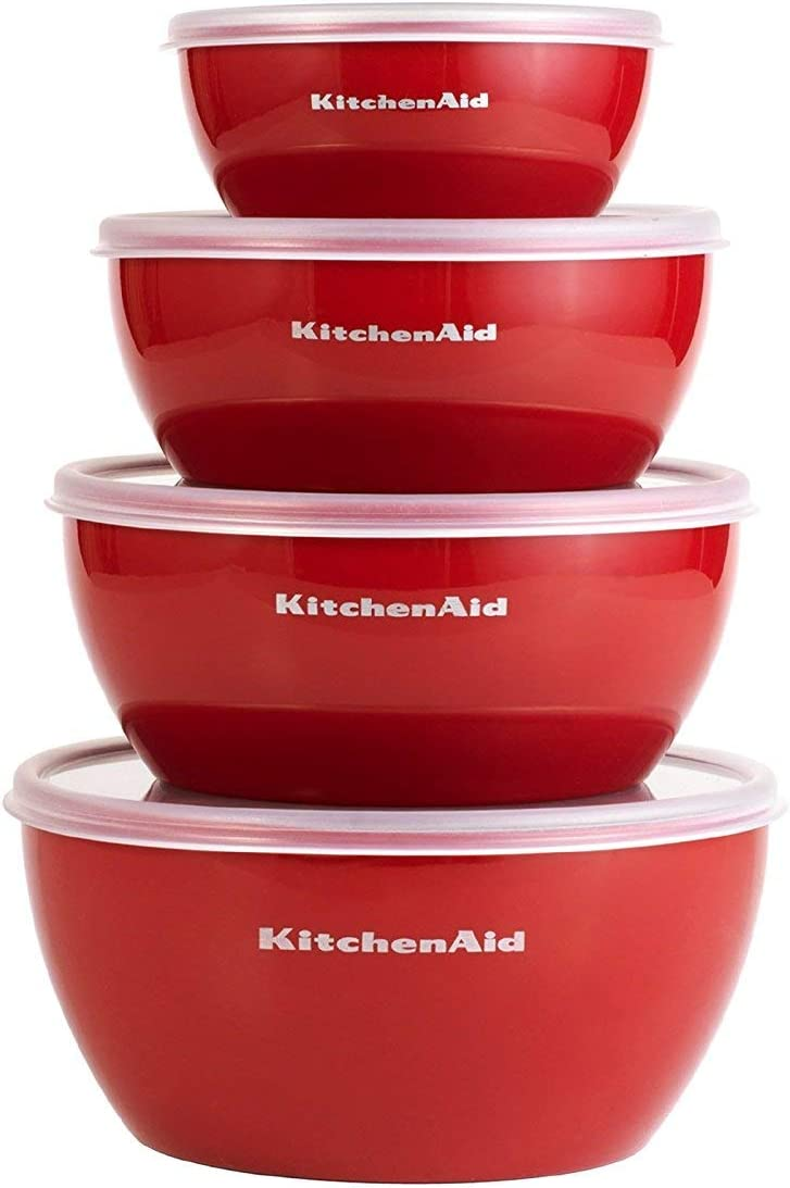 KitchenAid KC176BXERA Prep Bowls with Lids, Set of 4, Red