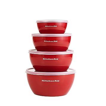 Kitchenaid Schussel Set 4 Teilig Mit Deckel Rot