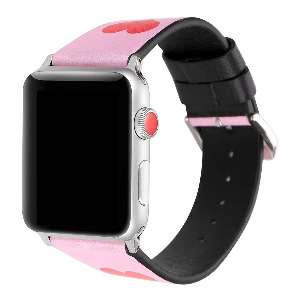 Juzzhou Band For Apple Watch iWatch Series 1/2/3 Sport Edition Leather Love Replacement Wriststrap Bracelet Wristband Wrist Strap With Metal Adapter Adjustable Clasp For Woman Man Lady Pink 42mm